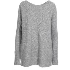 Reiss Whisper Cable Panel Scoop Neck Knit ($165) ❤ liked on Polyvore