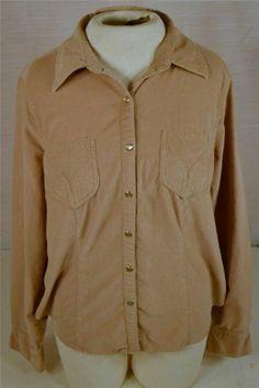 Gloria Vanderbilt Size Large 100% Cotton Corduroy Long Sleeve Western Shirt #GloriaVanderbilt #Western