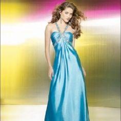 Blue Satin Mori Lee Long Gown