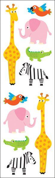 """Mrs. Grossman's Chubby Zoo Animal Stickers - 6.5"""" x 2"""""""