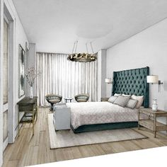 Master Bedroom. Interior Design with Mixed Media Drawings. By Julia Smolkina.