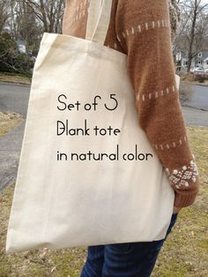 Set of 5, cotton-canvas tote bag, FREE custom gusset, EXTRA long strap, bridal tote, cotton market tote, DIY tote bag, blank plain tote bag