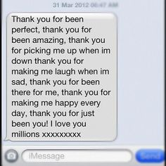 Thank you. I love you. Cute texts #lovetextmessages Thank You Quotes For Boyfriend, Cute Messages For Boyfriend, Birthday Message For Boyfriend, Sweet Text Messages, Boyfriend Texts, Boyfriend Quotes, Sweet Texts, Cute Texts, Happy Birthday Text