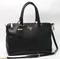 2013 Prada BL0778 Black Grained Calf Leather Vitello Daino Top Handle Bag