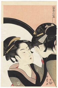 Beauty Using a Full Length Mirror by Utamaro (1750 - 1806). Japanese woodblock print. ukiyoe japan decoration antique fineart home decor collectible japanese woodblock print handmade home art beautiful decorative etching illustration traditional woodcut