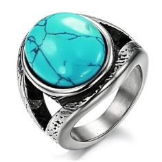 Vintage Style Stainless Steel 21mm Oval Turquoise Stone Ring Wide and Bold, Availabe Sizes: 4,5,6,6.5,7,7.5,8,8.... $16.88 (71% OFF) + Free Shipping