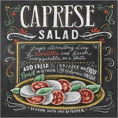 Caprese Salad You are in the right place about healthy food crockpot Here we offer you the most beautiful pictures about the healthy food poster you are looking for. Caprese Salad Recipe, Salad Recipes, Ensalada Caprese, Caprese Salat, Lily And Val, Chalk Lettering, Hot Apple Cider, Silvester Party, Chalkboard Art