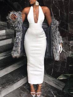 Vefinear 2019 Sexy Women Summer Dress V Neck Bodycon Dress Women Vintage Vestidos Halter Elegant Lady Party Club Dresses XL All White Outfit, White Dress, Classy Outfits, Cute Outfits, Club Dresses, Sexy Dresses, Dress Outfits, Fashion Dresses, Looks Chic