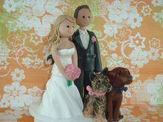 Custom Made Bride And Groom With Pets Wedding Cake by mudcards, $145.00