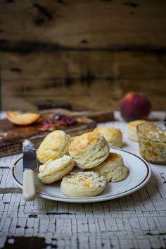 honeysuckle cordial: honeysuckle biscuits with sea salt peach butter + honeysuckle mint vinaigrette