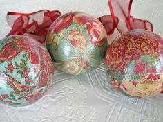 Decoupage scrapbook paper ornaments