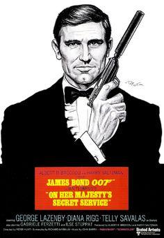 Bond poster art by Patricio Carbajal Secret Service Movie, George Lazenby, Bond Series, Bond Girls, Thing 1, Sean Connery, James Bond, Movie Tv, Novels
