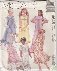 a43c35410d60 Nightgown Pattern Pajama Pinafore Sundress Girls Size 7 - 14 uncut McCalls  4645 by PrettyfulPatterns on