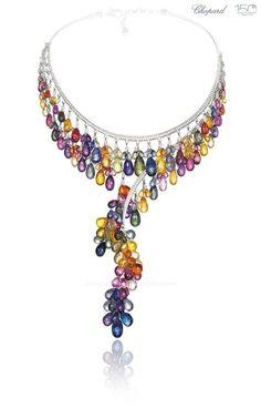 GABRIELLE'S AMAZING FANTASY CLOSET   Chopard; collier copacabana en or blanc , diamant, et saphirs briolettes multicolores.