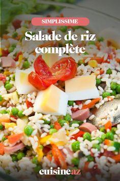 Cette recette de salade complète à base de riz est idéale pour diverses occasions telles qu'un pique-nique ou une lunch box. #recette#cuisine #salade #saladederiz Cobb Salad, Food And Drink, Pasta Salad, Balsamic Vinegar, Chopped Salads, Brown Rice, White Rice
