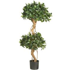 Nearly Natural 5233 Sweet Bay Double Ball Topiary Silk Permanent Tree