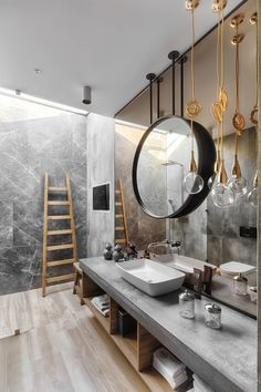 Luxury bathroom with dark and natural textured decor Do you like it? Gorgeous Bathroom, Room Design, Bathroom Mirror, Hotel Decor, Interior Design, Luxury Bathroom, Bathrooms Remodel, Bathroom Design, Bathroom Decor