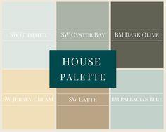 A whole house palette in modern neutrals. SW Glimmer, SW Oyster Bay, BM Dark Olive, SW Jersey Cream, SW Latte, BM Palladian Blue, Behr Swiss Coffee, SW Blue Peacock.