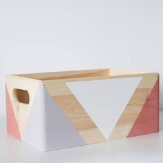 Geometric wooden box with handles - EtsyxAnniesloan - Storage box - Office storage - Toy storage - Wooden crate - Geometric box Wooden Crates Toy Storage, Outdoor Toy Storage, Plywood Storage, Wall Storage Shelves, Diy Toy Storage, Wooden Boxes, Crate Storage, Office Storage, Geometric Box