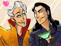 I'm up WAY too early so have a couple of party boys. ((Ghahah! It almost looks like Loki is going to throw his drink on Grandmaster's face!))