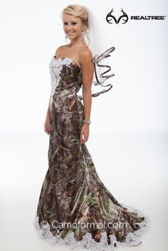#NEW Realtree APG Camo Mermaid Wedding Gown with Sweep Train #realtreecamo #camowedding