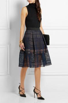 Self-Portrait | Sofia pleated guipure lace skirt | NET-A-PORTER.COM