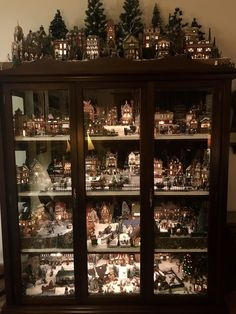 My grandmother's Christmas village. The details have always captivated me - christmas Christmas Tree Village Display, Lemax Christmas Village, Christmas Villages, Noel Christmas, Rustic Christmas, Winter Christmas, Christmas Decorations, Christmas Crafts, Christmas Mantles