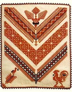 Attached to an article about Palestinian Embroidery -- very interesting! Embroidery Tattoo, Types Of Embroidery, Folk Embroidery, Cross Stitch Embroidery, Embroidery Patterns, Cross Stitch Bird, Cross Stitch Borders, Cross Stitch Designs, Cross Stitching