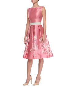 Pamella Roland Sleeveless Floral-Skirt Cocktail Dress, Pink