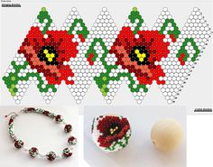 Crochet Beaded Bracelets, Beaded Crafts, Beaded Bracelet Patterns, Bead Crochet Patterns, Beading Patterns Free, Beaded Christmas Ornaments, Beaded Jewelry Designs, Bead Art, Bead Weaving