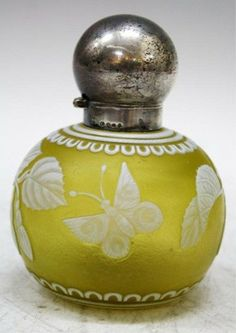 Webb Cameo Art Glass Perfume Bottle With Sterling Silver Top - English, Probably 19th Century