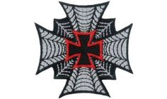 """Maltese Cross Web Embroidered Patch 6cm x 6cm (2 1/4"""" x 2 1/4"""")"""