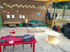 EYFS builders yard, construction area. Outdoor Learning