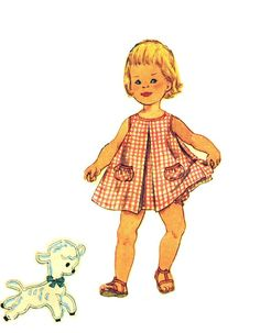 Simplicity 3056 Vintage 50s Toddlers Blouse Slip Dress or Jumper and Bloomer Panties  with Lamb Applique Sewing Pattern Size 1 B 20. $12.00, via Etsy.