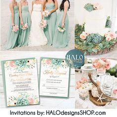 Rustic Succulent Wedding Invitation ANY COLOR succulent