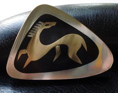 Signed STELLA POPOWSKI Mexico Sterling Silver Brass MODERNIST HORSE Pin BROOCH #StellaPopowski