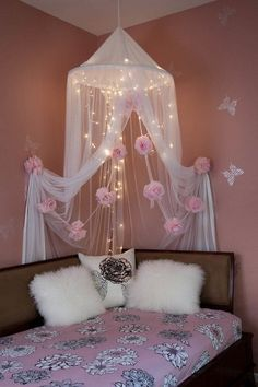 Pretty Pink Flowers Embellished Diy Canopy Corner With Lights