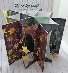 Expanding Star Fold Card 5 Cards In One! Star Cards, 3d Cards, Pop Up Cards, Easel Cards, Fun Fold Cards, Folded Cards, Trifold Shutter Cards, Special Birthday Cards, Stampin Up