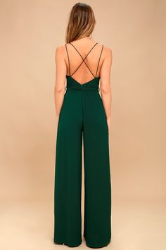 1842f6e5c9c Hype Dream Forest Green Backless Wide-Leg Jumpsuit