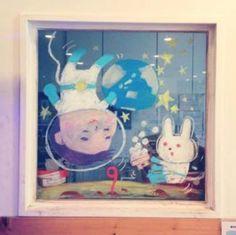 2015/2/2掲載 「ilebois」さんがおこさんの通われている保育園の窓に描かれている月替わりのイラスト作品です。9月 https://www.facebook.com/kitpas2005  #kitpas #キットパス