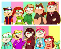 Dipper, Mabel, Wendy, Soos, Stan, Gideon, Pacifica, Robbie, Giffany, and Mermando. These are the best gf gender swaps I've seen. I Love the GIffany and Mermando gender swap!!!
