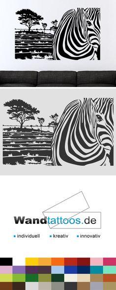 Wandbanner Zebra Motiv als Idee zur individuellen Wandgestaltung. Einfach Lieblingsfarbe und Größe auswählen. Weitere kreative Anregungen von Wandtattoos.de hier entdecken!
