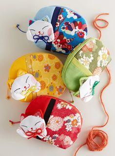 Lucky Cat Mini Purse - Set of 2 | Petalura Cat Purse, Mini Purse, Fabric Purses, Anime Cat, Maneki Neko, Little Bag, Soft Fabrics, Asian, Cats