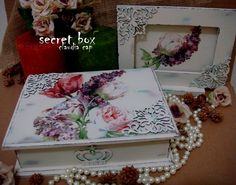 Decoupage e chipboard. Dyi Decorations, Decor Crafts, Diy Crafts, Pintura Country, Jewellery Boxes, Jewellery Storage, Decoupage Wood, Altered Boxes, Chipboard