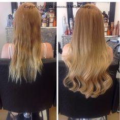 Before and after micro weave by Diamond dolls beauty using beauty works hair