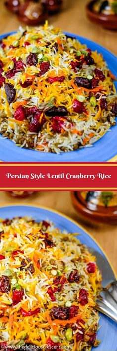 Lentil Cranberry Saffron Rice: A Persian style aromatic dish that is a bit tangy, subtly sweet and savory, packed with plant protein, fiber, antioxidants and healthy fats. Indian Food Recipes, Vegetarian Recipes, Cooking Recipes, Healthy Recipes, Vegan Vegetarian, Healthy Side Dishes, Side Dish Recipes, Cranberry Rice, Lentils And Rice