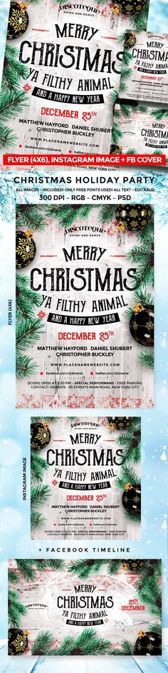 Christmas Images, Christmas Design, Christmas Holidays, White Christmas, Christmas Flyer Template, Christmas Templates, Party Flyer, Nye Party, Merry Christmas Ya Filthy Animal