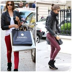 red jeans and aubergine leggings
