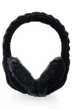 TARA Black Wool Women Earmuffs