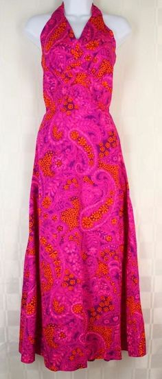 Vtg 60s Casual Ceire by Hawaii Nei Paisley Floral Barkcloth Halter Dress XS…
